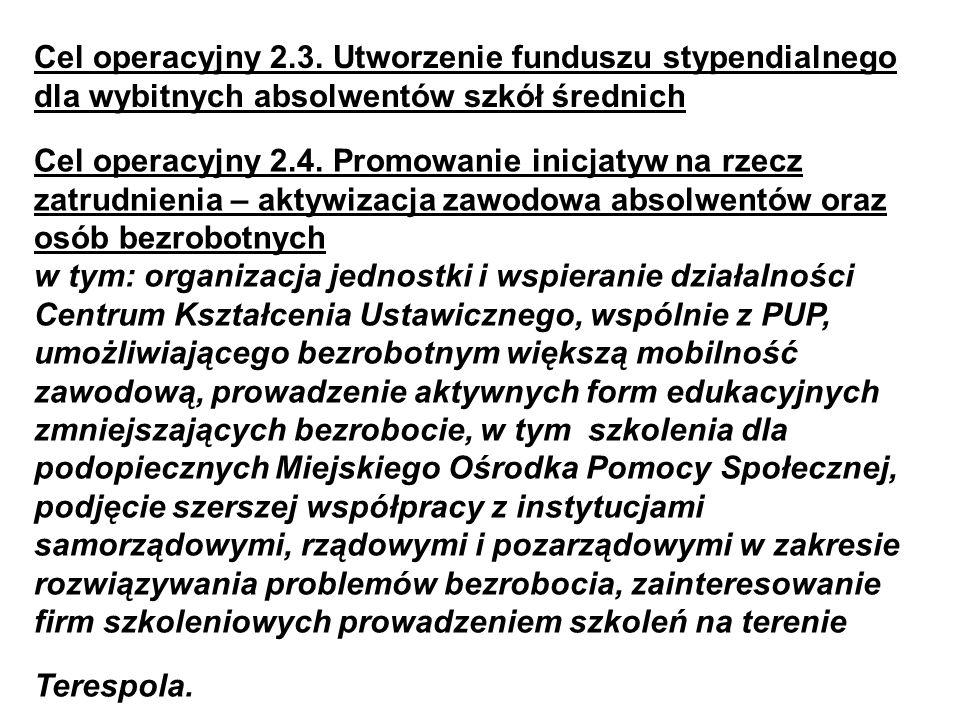 Cel operacyjny 2.3. Utworzenie funduszu stypendialnego dla wybitnych absolwentów szkół średnich Cel operacyjny 2.4. Promowanie inicjatyw na rzecz zatr