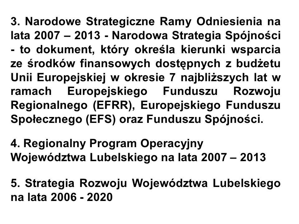 3. Narodowe Strategiczne Ramy Odniesienia na lata 2007 – 2013 - Narodowa Strategia Spójności - to dokument, który określa kierunki wsparcia ze środków