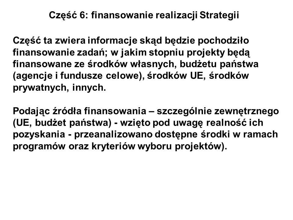 Część 6: finansowanie realizacji Strategii Część ta zwiera informacje skąd będzie pochodziło finansowanie zadań; w jakim stopniu projekty będą finanso