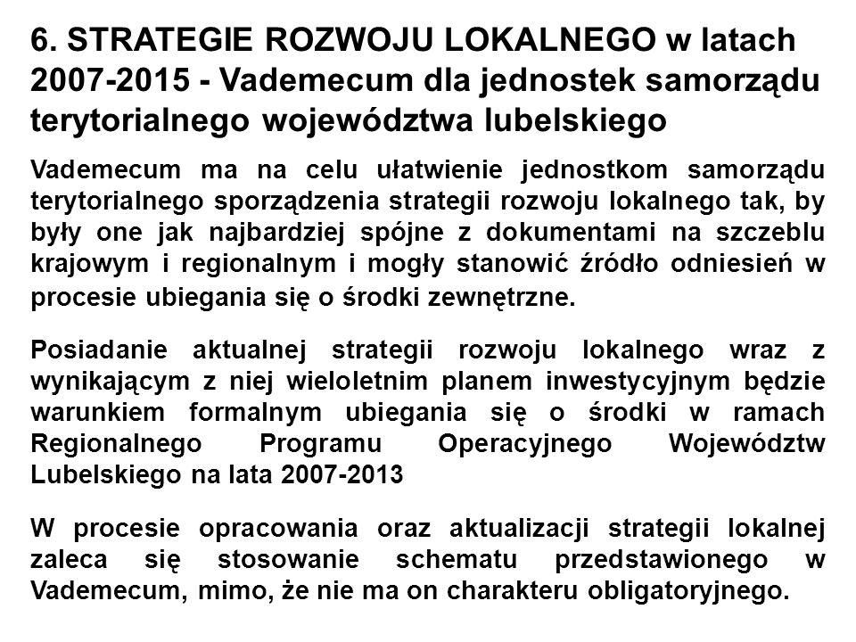 6. STRATEGIE ROZWOJU LOKALNEGO w latach 2007-2015 - Vademecum dla jednostek samorządu terytorialnego województwa lubelskiego Vademecum ma na celu ułat