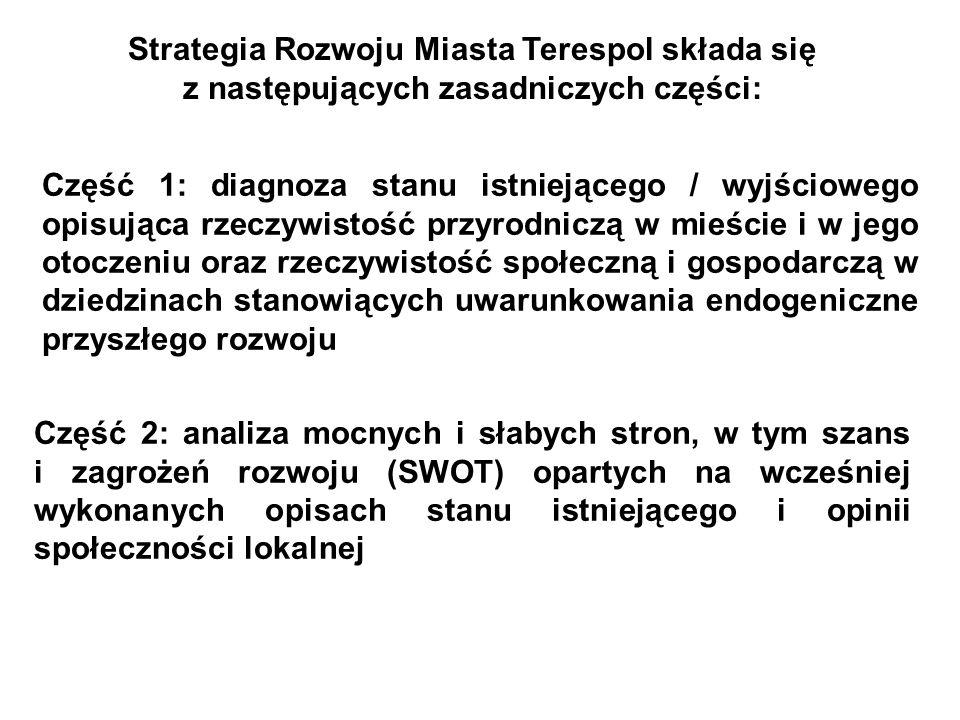 Strategia Rozwoju Miasta Terespol składa się z następujących zasadniczych części: Część 1: diagnoza stanu istniejącego / wyjściowego opisująca rzeczyw