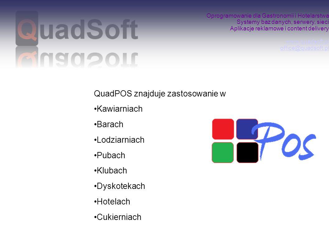 Oprogramowanie dla Gastronomii i Hotelarstwa Systemy baz danych, serwery, sieci Aplikacje reklamowe i content delivery www.quadsoft.pl office@quadsoft.pl www.quadsoft.pl office@quadsoft.pl Aplikacja mobilna oferuje następujące funkcje: Identyfikacja kelnera poprzez logowanie Tworzenie dowolnej ilości rachunków w systemie wraz z możliwością ich obsługi z terminala stacjonarnego Bonowanie (w tym zmiana ilości, porcji, ceny) Możliwość przekazywania rachunku innemu operatorowi Wysyłanie zamówień do określonych punktów realizacji (kuchnia, bar) Zarządzanie wszystkimi rachunkami operatora Storno, opis słowny rachunku i poszczególnych jego pozycji