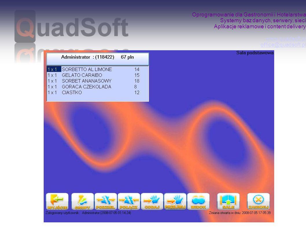 Oprogramowanie dla Gastronomii i Hotelarstwa Systemy baz danych, serwery, sieci Aplikacje reklamowe i content delivery www.quadsoft.pl office@quadsoft.pl www.quadsoft.pl office@quadsoft.pl Program do sprzedaży QuadPOS może zostać rozbudowany o: QuadStore – oprogramowanie ułatwiające prowadzenie gospodarki magazynowej (receptury, rozchody, remanenty) QuadPOSMobilE – moduł bezprzewodowego bonownika kelnerskiego (palmtop) pozwalający na obsługę Klienta przy stoliku
