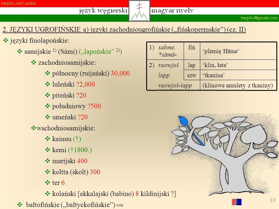 10 2. JĘZYKI UGROFIŃSKIE a) języki zachodniougrofińskie (fińskopermskie) (cz. II) języki finolapońskie: samijskie 1) (Sámi) (lapońskie 2) ) zachodnios
