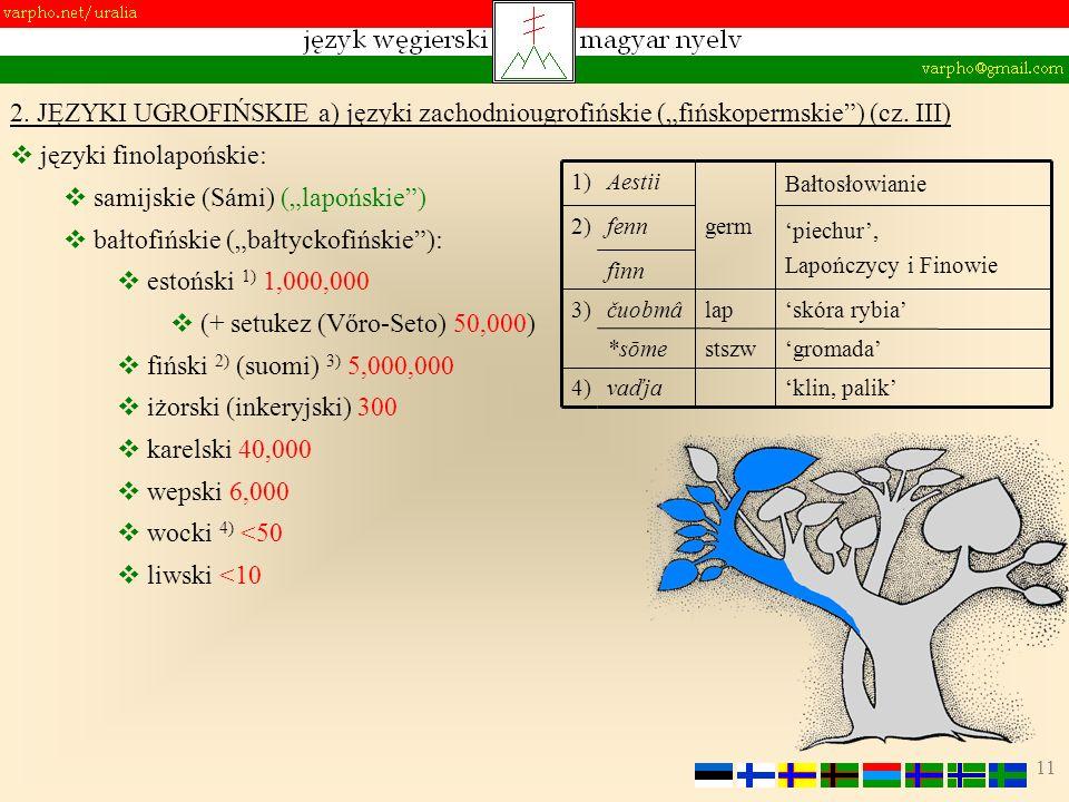 11 2. JĘZYKI UGROFIŃSKIE a) języki zachodniougrofińskie (fińskopermskie) (cz. III) języki finolapońskie: samijskie (Sámi) (lapońskie) bałtofińskie (ba