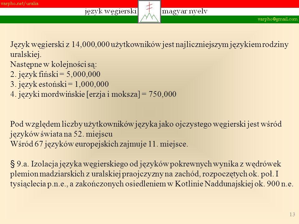 13 Język węgierski z 14,000,000 użytkowników jest najliczniejszym językiem rodziny uralskiej. Następne w kolejności są: 2. język fiński = 5,000,000 3.