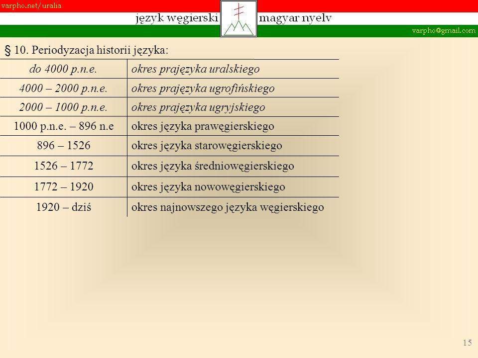 15 § 10. Periodyzacja historii języka: okres najnowszego języka węgierskiego okres języka nowowęgierskiego okres języka średniowęgierskiego okres języ