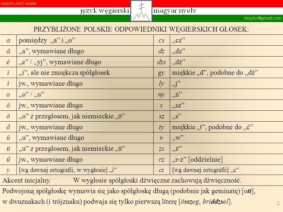 3 § 1.Nazwa polska: węgierski (madziarski) § 2. Nazwa oryginalna: magyar [nyelv] § 3.