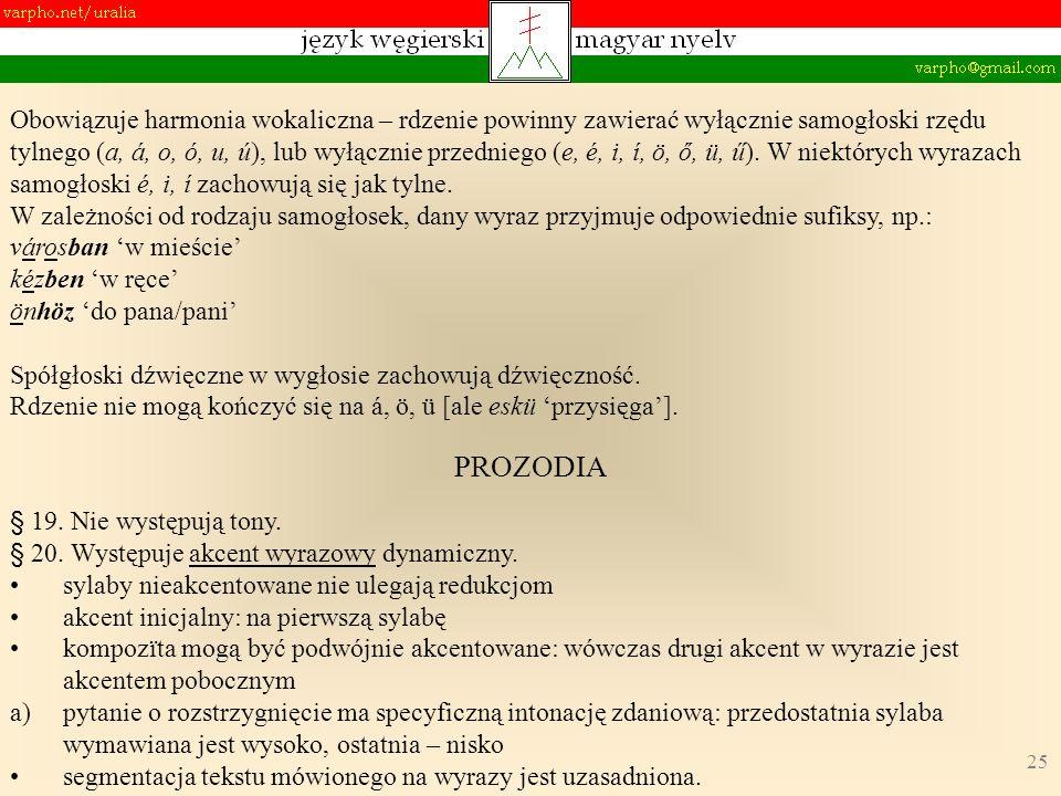 25 PROZODIA § 19. Nie występują tony. § 20. Występuje akcent wyrazowy dynamiczny.