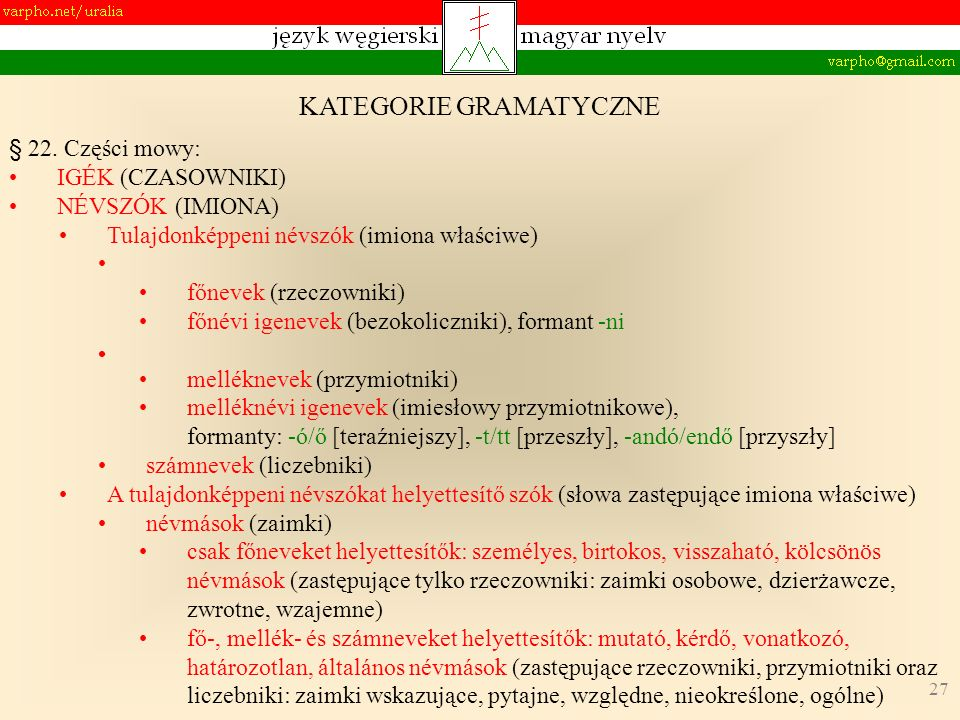 27 KATEGORIE GRAMATYCZNE § 22. Części mowy: IGÉK (CZASOWNIKI) NÉVSZÓK (IMIONA) Tulajdonképpeni névszók (imiona właściwe) főnevek (rzeczowniki) főnévi