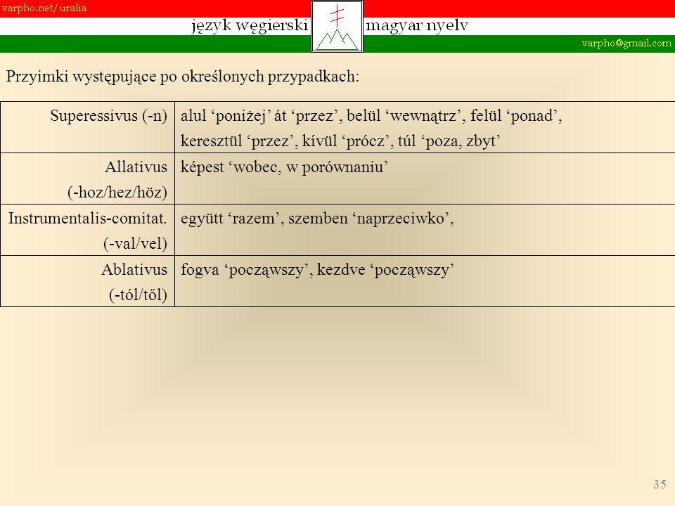 35 fogva począwszy, kezdve począwszyAblativus (-tól/től) együtt razem, szemben naprzeciwko,Instrumentalis-comitat.
