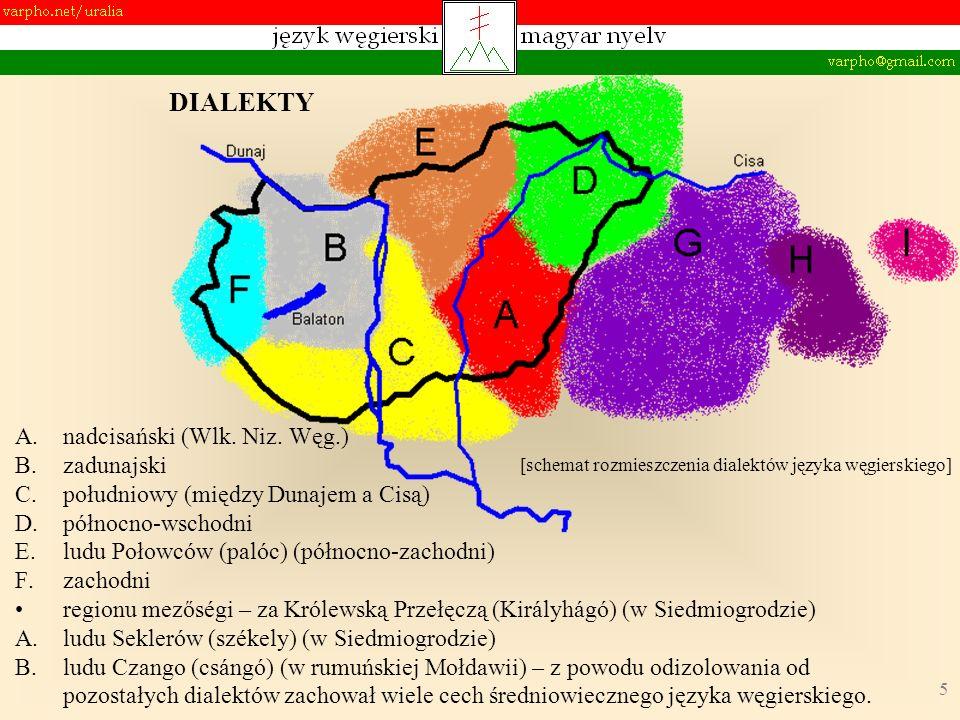 5 A.nadcisański (Wlk. Niz. Węg.) B.zadunajski C.południowy (między Dunajem a Cisą) D.północno-wschodni E.ludu Połowców (palóc) (północno-zachodni) F.z
