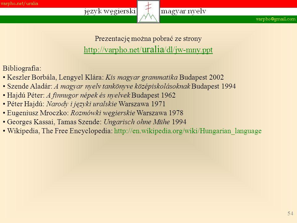 54 Prezentację można pobrać ze strony http://varpho.net/ uralia /dl/jw-mny.ppt Bibliografia: Keszler Borbála, Lengyel Klára: Kis magyar grammatika Bud