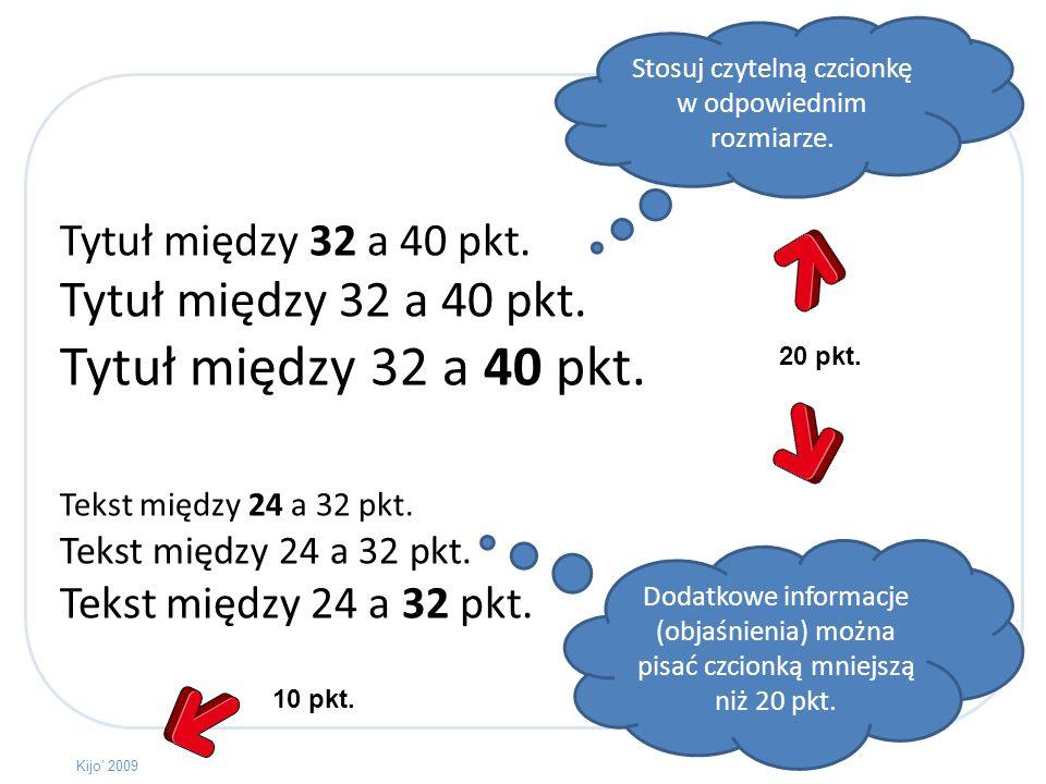 Często tekst mogą zastąpić obrazki. Przedstawiaj na slajdach tylko najważniejsze informacje. Kijo 2009