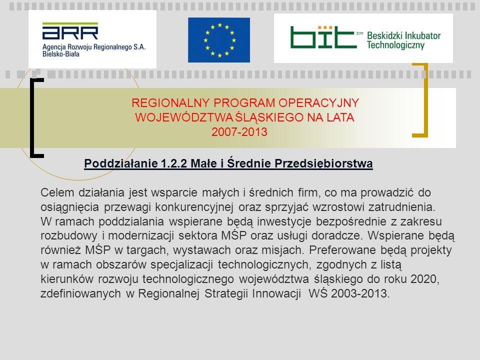 REGIONALNY PROGRAM OPERACYJNY WOJEWÓDZTWA ŚLĄSKIEGO NA LATA 2007-2013 Poddziałanie 1.2.2 Małe i Średnie Przedsiębiorstwa Celem działania jest wsparcie
