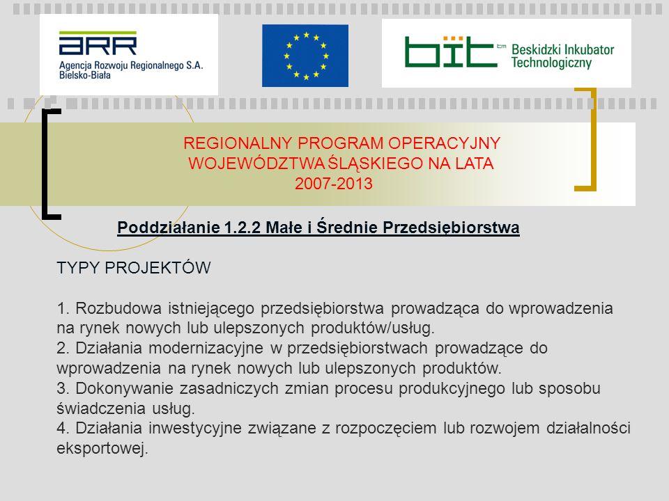 REGIONALNY PROGRAM OPERACYJNY WOJEWÓDZTWA ŚLĄSKIEGO NA LATA 2007-2013 Poddziałanie 1.2.2 Małe i Średnie Przedsiębiorstwa TYPY PROJEKTÓW 1. Rozbudowa i