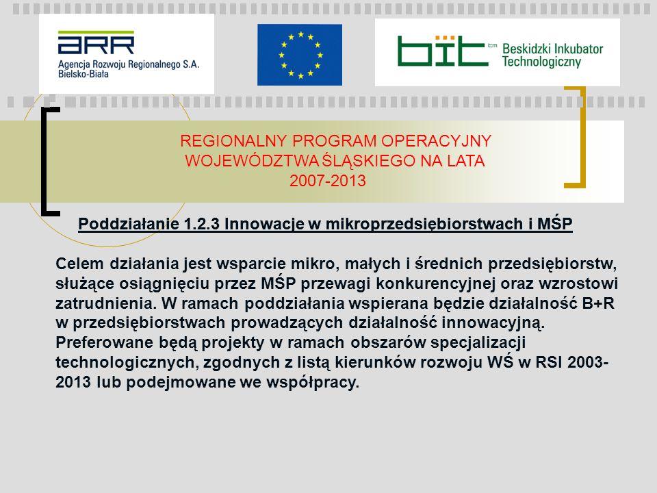 REGIONALNY PROGRAM OPERACYJNY WOJEWÓDZTWA ŚLĄSKIEGO NA LATA 2007-2013 Poddziałanie 1.2.3 Innowacje w mikroprzedsiębiorstwach i MŚP Celem działania jes