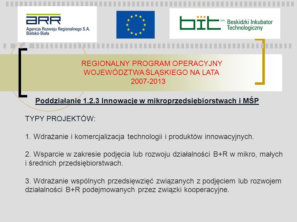 REGIONALNY PROGRAM OPERACYJNY WOJEWÓDZTWA ŚLĄSKIEGO NA LATA 2007-2013 Poddziałanie 1.2.3 Innowacje w mikroprzedsiębiorstwach i MŚP TYPY PROJEKTÓW: 1.