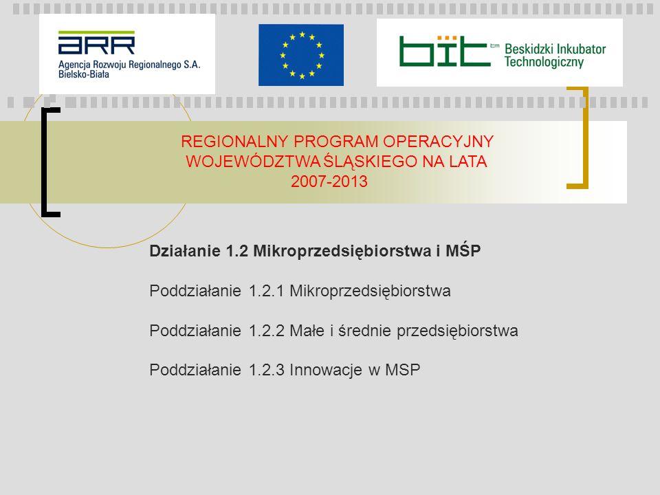 REGIONALNY PROGRAM OPERACYJNY WOJEWÓDZTWA ŚLĄSKIEGO NA LATA 2007-2013 Działanie 1.2 Mikroprzedsiębiorstwa i MŚP Poddziałanie 1.2.1 Mikroprzedsiębiorstwa Poddziałanie 1.2.2 Małe i średnie przedsiębiorstwa Poddziałanie 1.2.3 Innowacje w MSP