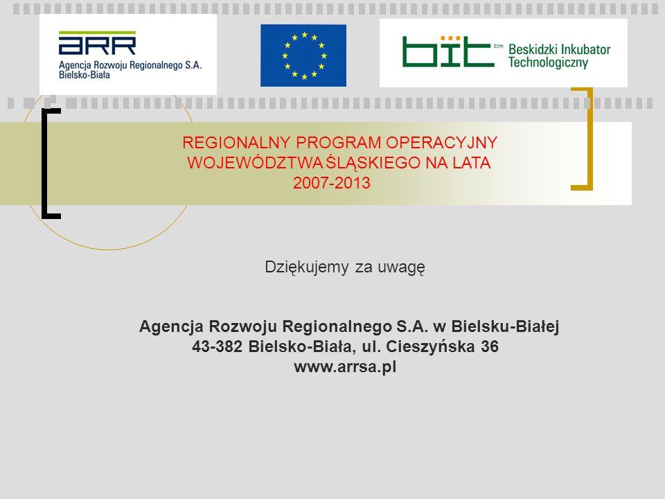 REGIONALNY PROGRAM OPERACYJNY WOJEWÓDZTWA ŚLĄSKIEGO NA LATA 2007-2013 Dziękujemy za uwagę Agencja Rozwoju Regionalnego S.A. w Bielsku-Białej 43-382 Bi