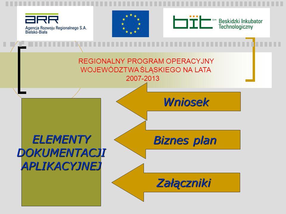 REGIONALNY PROGRAM OPERACYJNY WOJEWÓDZTWA ŚLĄSKIEGO NA LATA 2007-2013 ELEMENTYDOKUMENTACJIAPLIKACYJNEJ Wniosek Biznes plan Załączniki