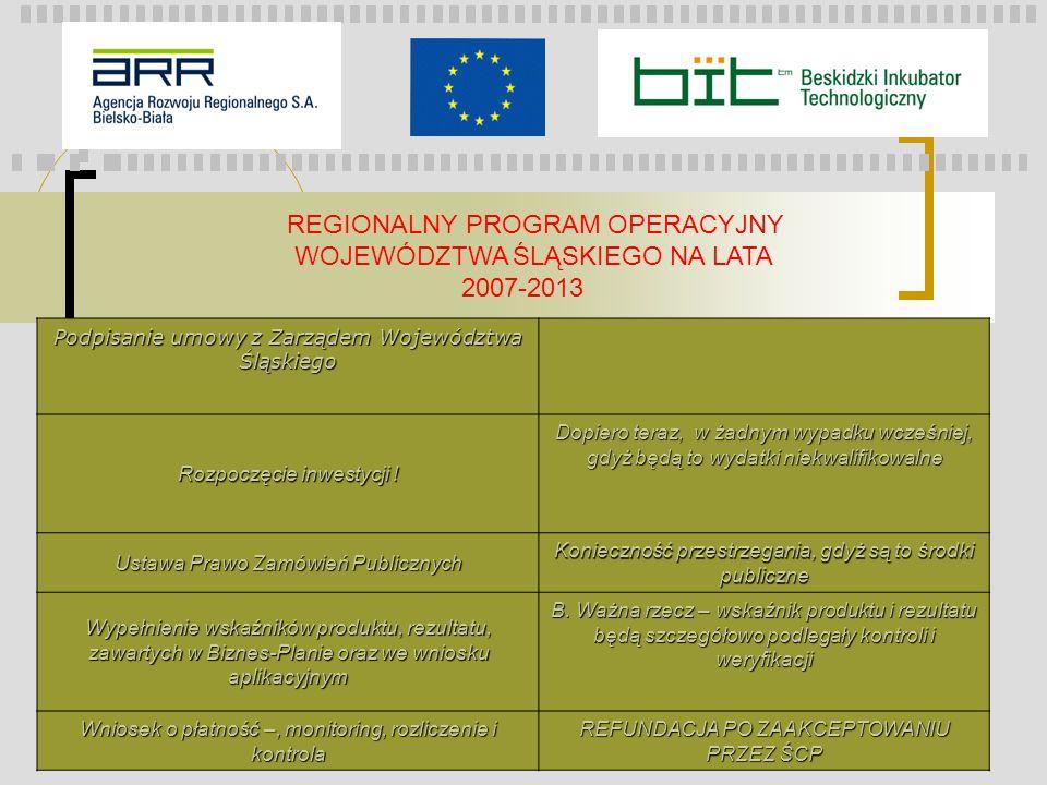 REGIONALNY PROGRAM OPERACYJNY WOJEWÓDZTWA ŚLĄSKIEGO NA LATA 2007-2013 Podpisanie umowy z Zarządem Województwa Śląskiego Rozpoczęcie inwestycji ! Dopie