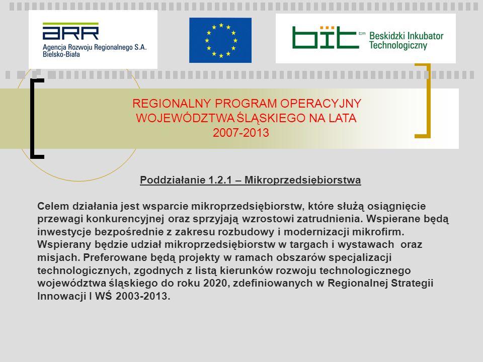 REGIONALNY PROGRAM OPERACYJNY WOJEWÓDZTWA ŚLĄSKIEGO NA LATA 2007-2013 Poddziałanie 1.2.1 – Mikroprzedsiębiorstwa Celem działania jest wsparcie mikropr
