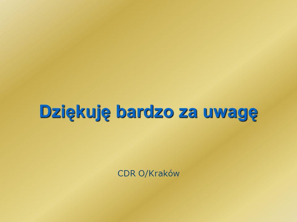 Dziękuję bardzo za uwagę CDR O/Kraków