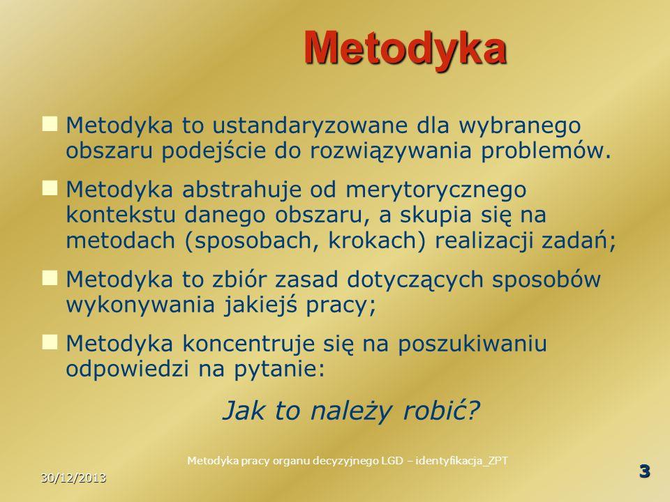 30/12/2013 3 Metodyka Metodyka to ustandaryzowane dla wybranego obszaru podejście do rozwiązywania problemów. Metodyka abstrahuje od merytorycznego ko