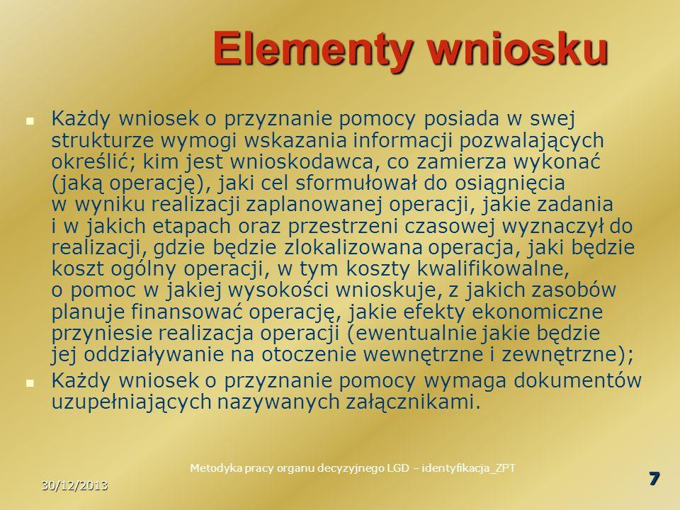 30/12/2013 7 Elementy wniosku Każdy wniosek o przyznanie pomocy posiada w swej strukturze wymogi wskazania informacji pozwalających określić; kim jest