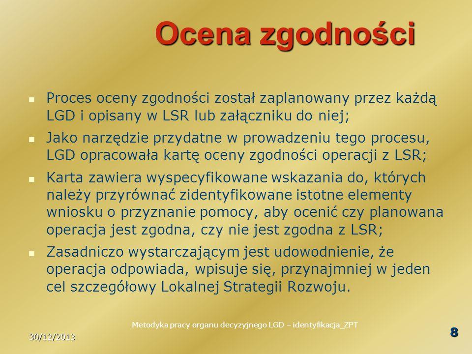 30/12/2013 Metodyka pracy organu decyzyjnego LGD – identyfikacja _ZPT 8 Ocena zgodności Proces oceny zgodności został zaplanowany przez każdą LGD i op