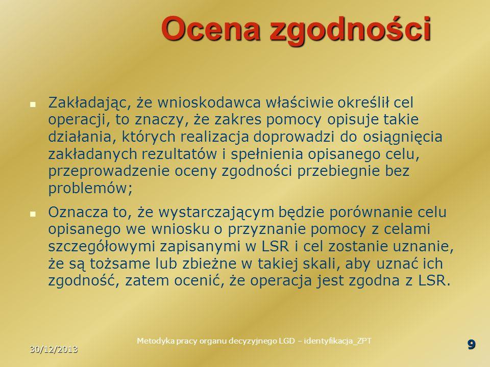 30/12/2013 20 Podsumowanie Zawsze, gdy mamy do czynienia z oceną merytoryczną występują elementy subiektywne; Nie należy się tym specjalnie przejmować, o tym należy wiedzieć, w postępowaniu kierować się przede wszystkim ogólnym kontekstem, w jakim usytuowana jest procedura oceny; Ocena ma służyć wybraniu operacji, które będą jak najlepiej przyczyniać się do osiągania celów LSR; Jeżeli mamy wątpliwości to powinniśmy kierować się zdrowym rozsądkiem - cokolwiek to pojęcie oznacza.