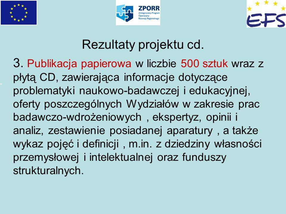 Rezultaty projektu cd. 3. Publikacja papierowa w liczbie 500 sztuk wraz z płytą CD, zawierająca informacje dotyczące problematyki naukowo-badawczej i