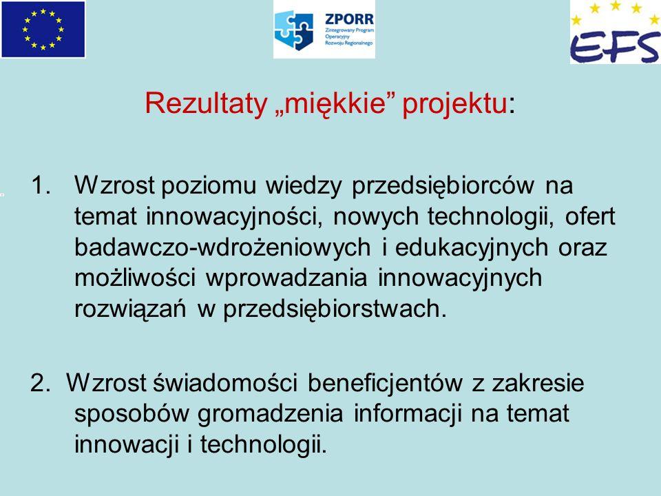 Rezultaty miękkie projektu: 1.Wzrost poziomu wiedzy przedsiębiorców na temat innowacyjności, nowych technologii, ofert badawczo-wdrożeniowych i edukac