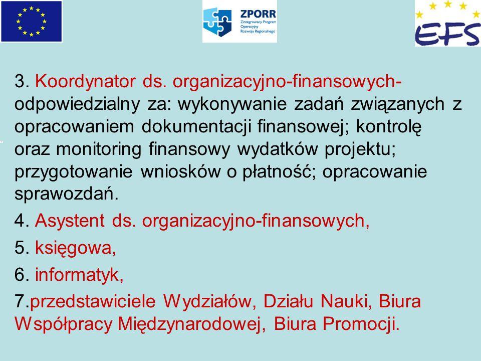 3. Koordynator ds. organizacyjno-finansowych- odpowiedzialny za: wykonywanie zadań związanych z opracowaniem dokumentacji finansowej; kontrolę oraz mo