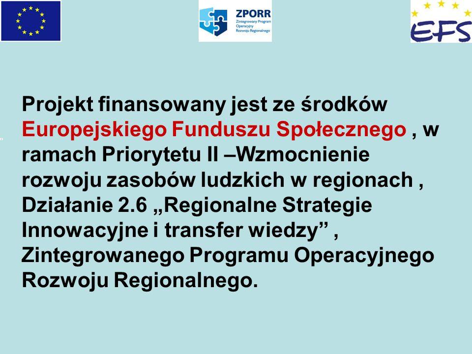 Projekt finansowany jest ze środków Europejskiego Funduszu Społecznego, w ramach Priorytetu II –Wzmocnienie rozwoju zasobów ludzkich w regionach, Dzia