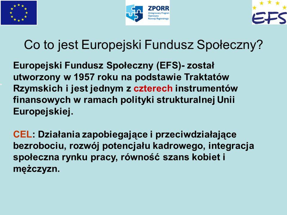 Co to jest Europejski Fundusz Społeczny? Europejski Fundusz Społeczny (EFS)- został utworzony w 1957 roku na podstawie Traktatów Rzymskich i jest jedn