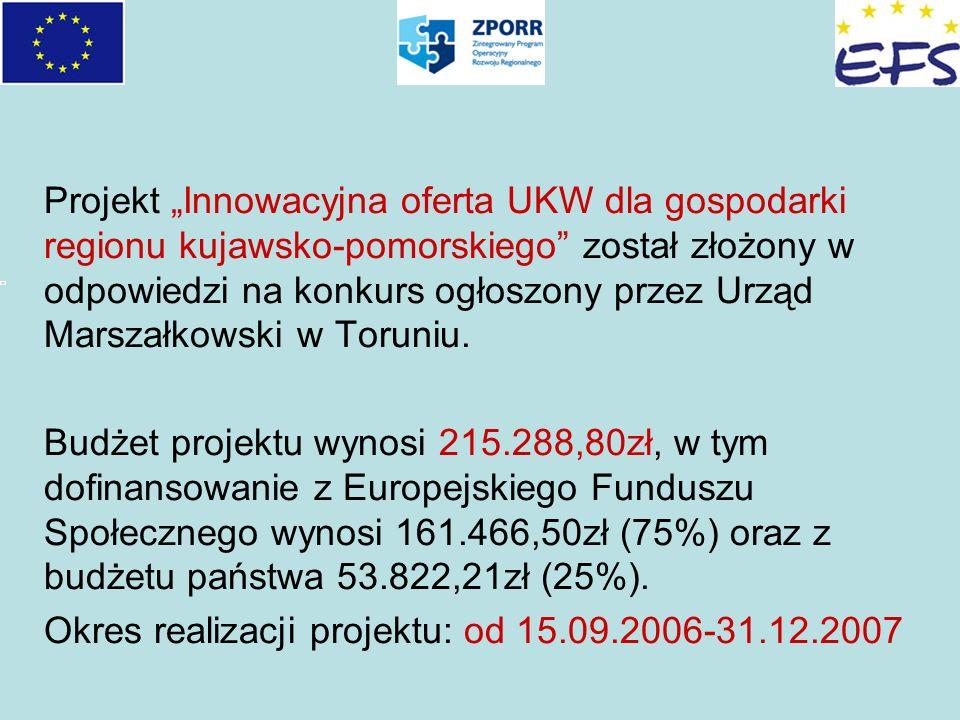 Projekt Innowacyjna oferta UKW dla gospodarki regionu kujawsko-pomorskiego został złożony w odpowiedzi na konkurs ogłoszony przez Urząd Marszałkowski