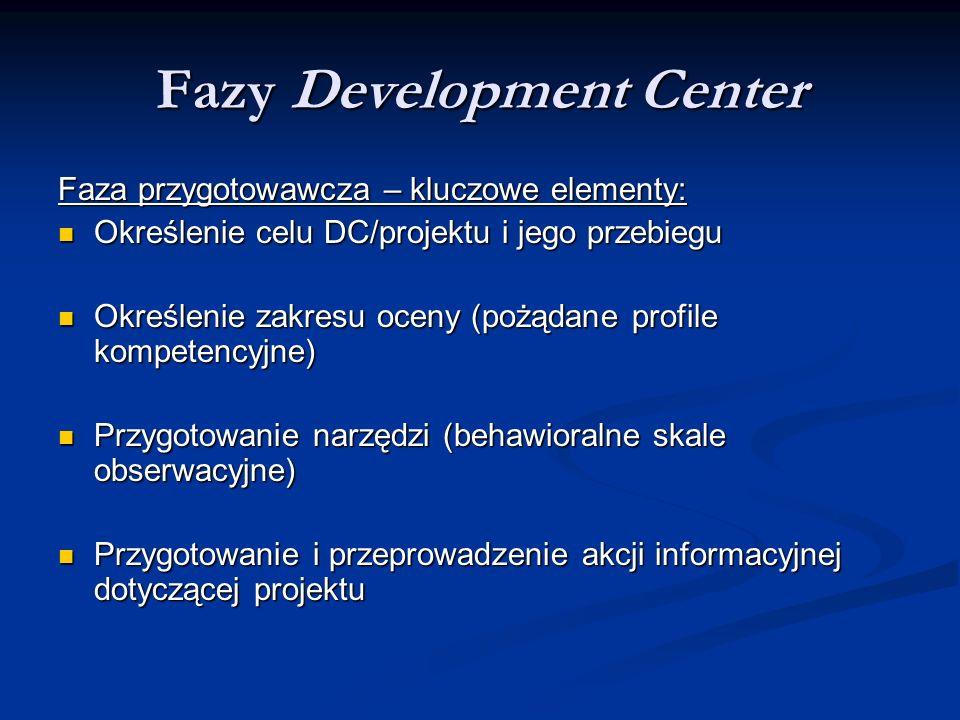 Fazy Development Center Faza przygotowawcza – kluczowe elementy: Określenie celu DC/projektu i jego przebiegu Określenie celu DC/projektu i jego przeb