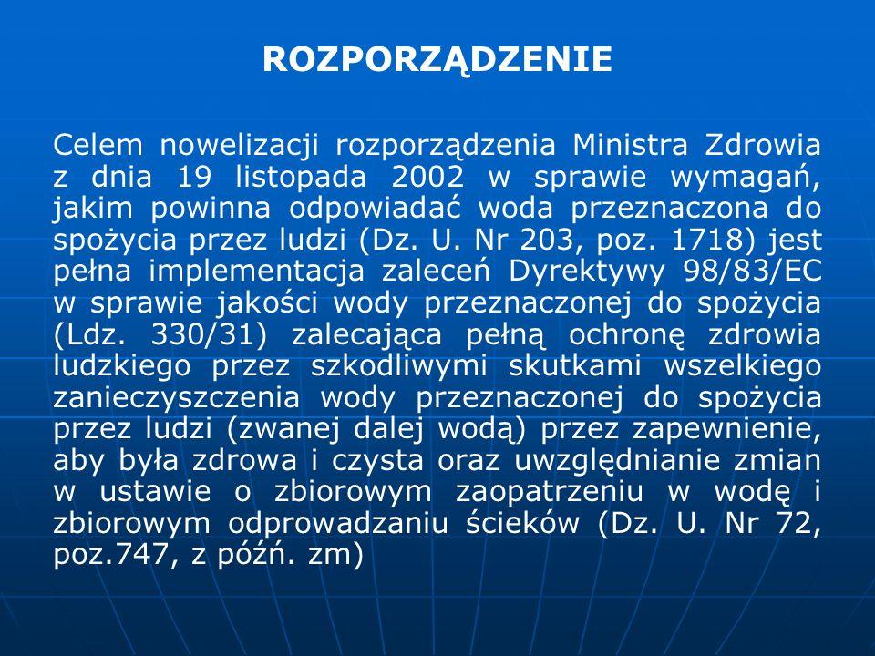ROZPORZĄDZENIE Celem nowelizacji rozporządzenia Ministra Zdrowia z dnia 19 listopada 2002 w sprawie wymagań, jakim powinna odpowiadać woda przeznaczon