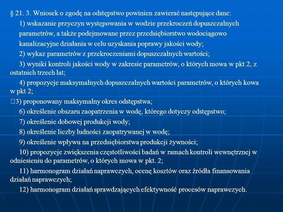 § 21. 3. Wniosek o zgodę na odstępstwo powinien zawierać następujące dane: 1) wskazanie przyczyn występowania w wodzie przekroczeń dopuszczalnych para