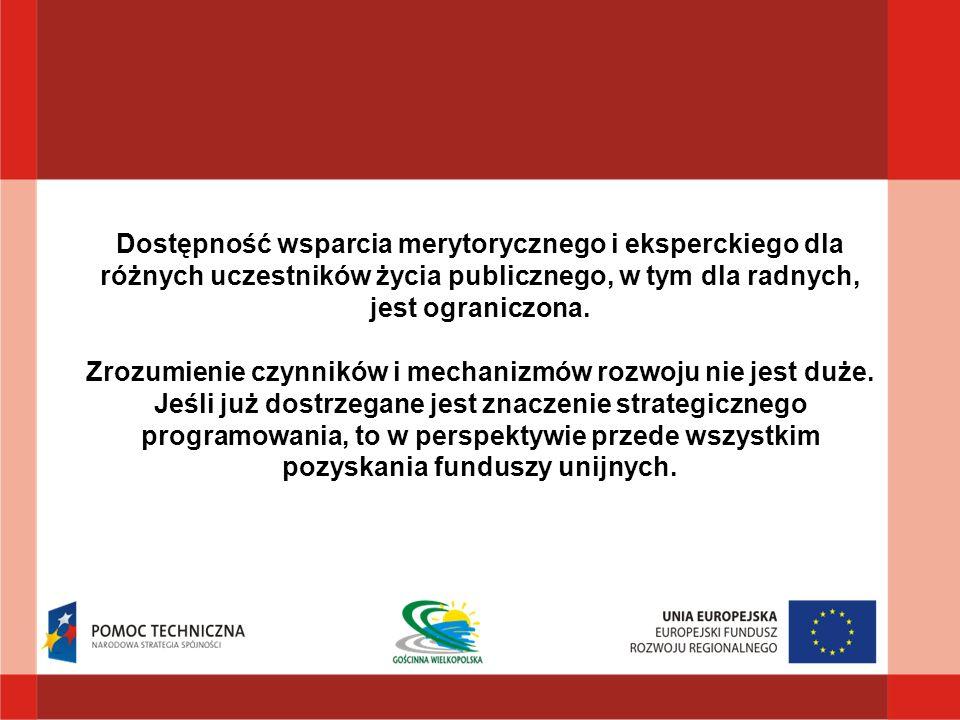 Dostępność wsparcia merytorycznego i eksperckiego dla różnych uczestników życia publicznego, w tym dla radnych, jest ograniczona.