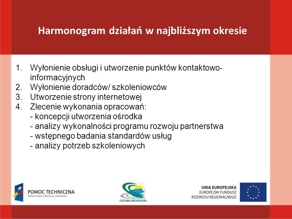 Harmonogram działań w najbliższym okresie 1.Wyłonienie obsługi i utworzenie punktów kontaktowo- informacyjnych 2.Wyłonienie doradców/ szkoleniowców 3.