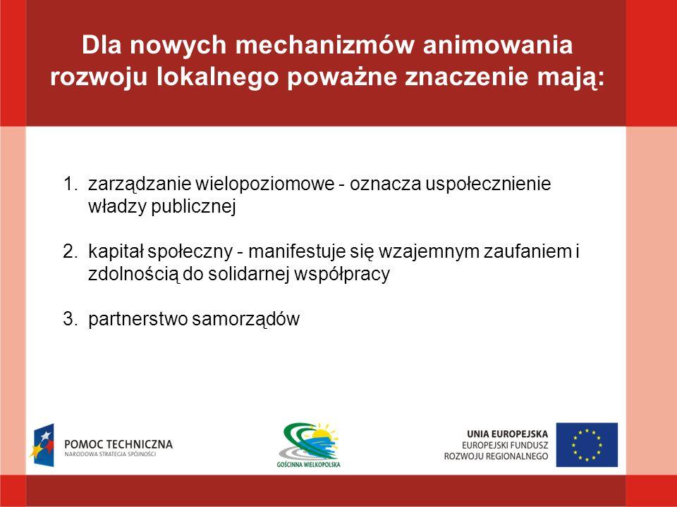 Dla nowych mechanizmów animowania rozwoju lokalnego poważne znaczenie mają: 1.zarządzanie wielopoziomowe - oznacza uspołecznienie władzy publicznej 2.