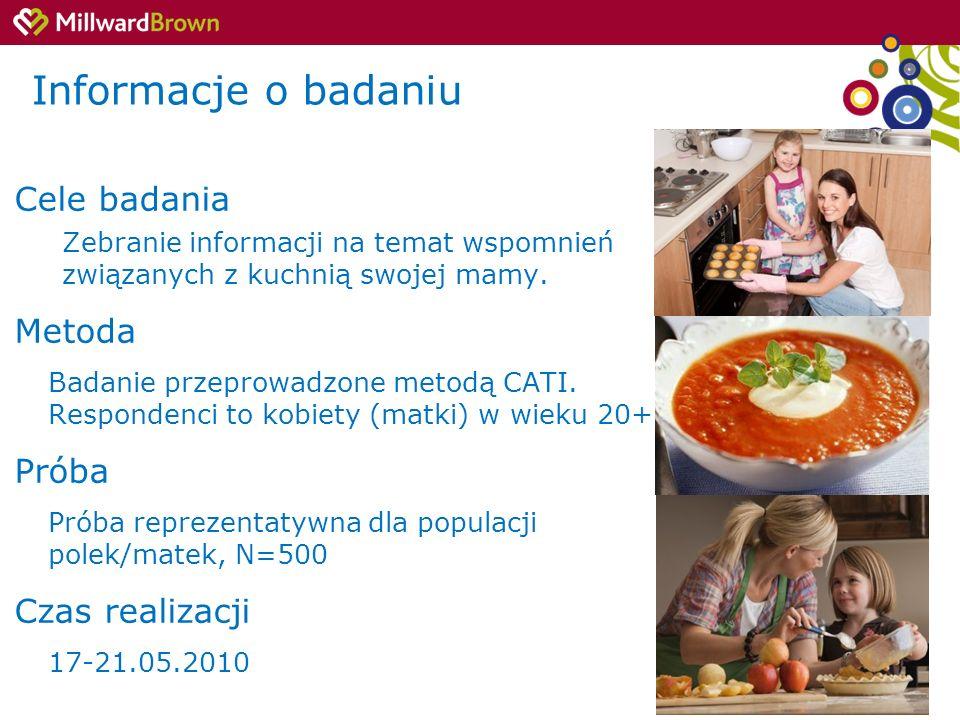 2 Informacje o badaniu Cele badania Zebranie informacji na temat wspomnień związanych z kuchnią swojej mamy. Metoda Badanie przeprowadzone metodą CATI
