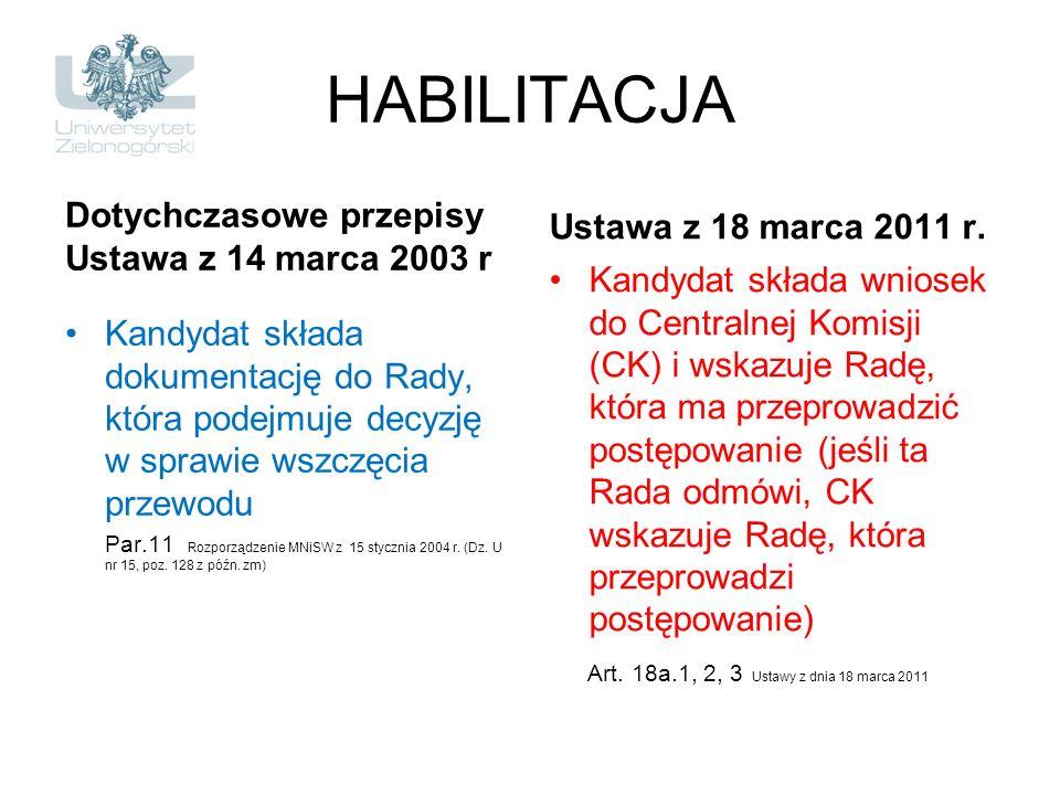 HABILITACJA Dotychczasowe przepisy Ustawa z 14 marca 2003 r Kandydat składa dokumentację do Rady, która podejmuje decyzję w sprawie wszczęcia przewodu