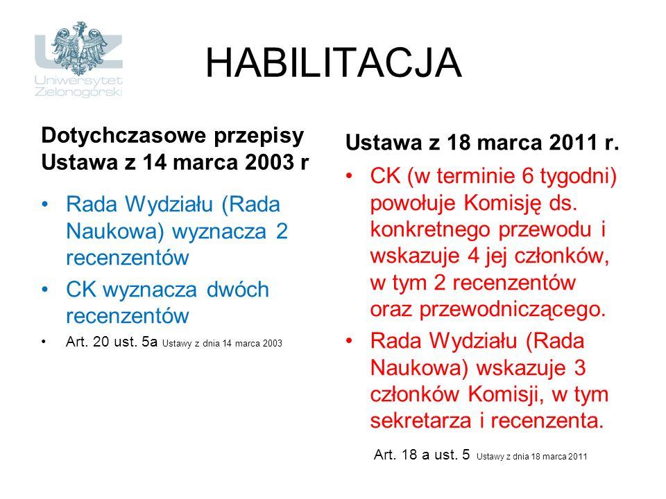 HABILITACJA Dotychczasowe przepisy Ustawa z 14 marca 2003 r Rada Wydziału (Rada Naukowa) wyznacza 2 recenzentów CK wyznacza dwóch recenzentów Art. 20