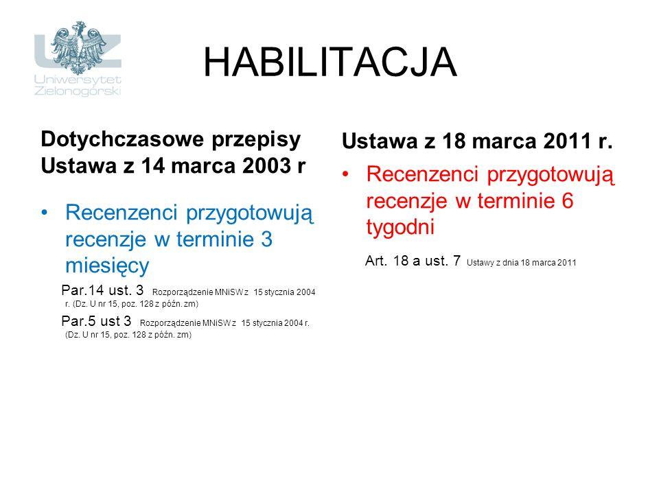 HABILITACJA Dotychczasowe przepisy Ustawa z 14 marca 2003 r Recenzenci przygotowują recenzje w terminie 3 miesięcy Par.14 ust. 3 Rozporządzenie MNiSW