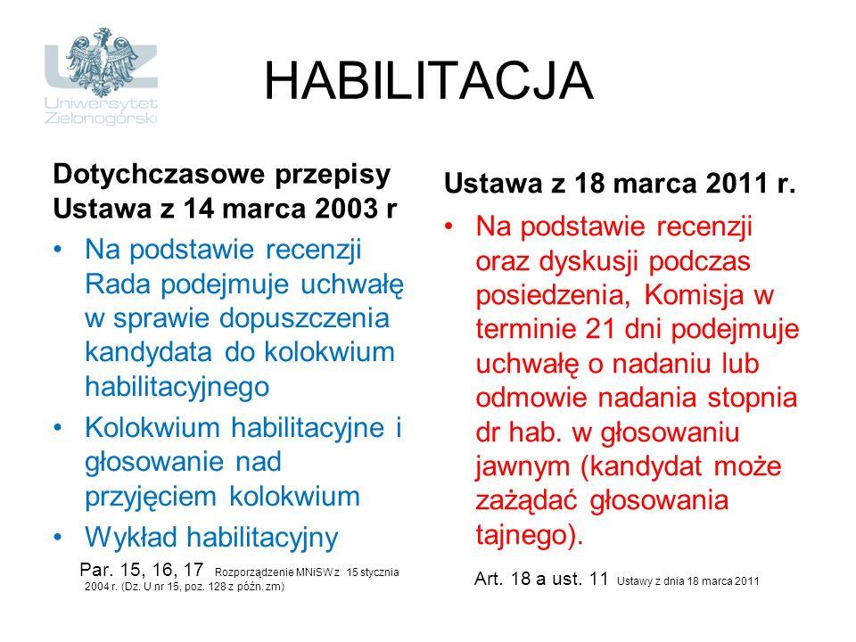 HABILITACJA Dotychczasowe przepisy Ustawa z 14 marca 2003 r Na podstawie recenzji Rada podejmuje uchwałę w sprawie dopuszczenia kandydata do kolokwium