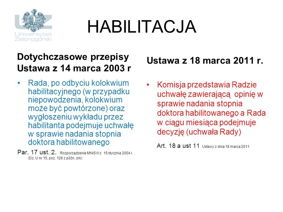 HABILITACJA Dotychczasowe przepisy Ustawa z 14 marca 2003 r Rada, po odbyciu kolokwium habilitacyjnego (w przypadku niepowodzenia, kolokwium może być